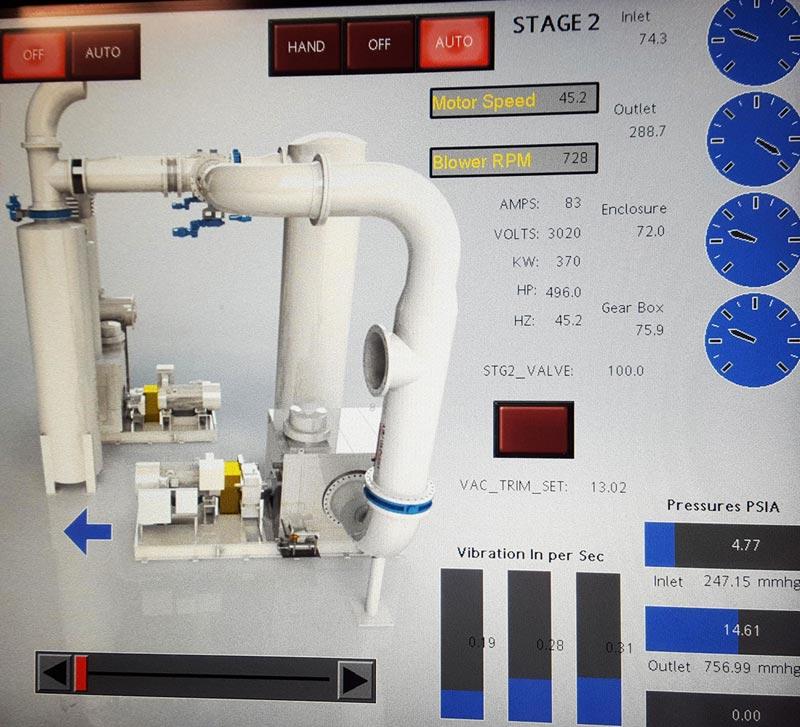 Multi stage vacuum system HMI