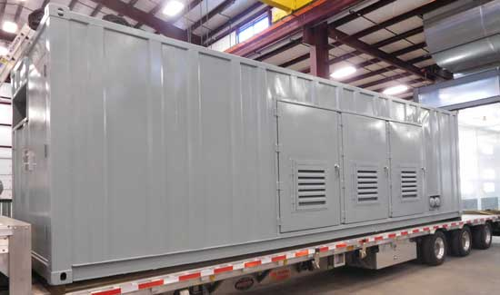 Custom shipping container in paint booth