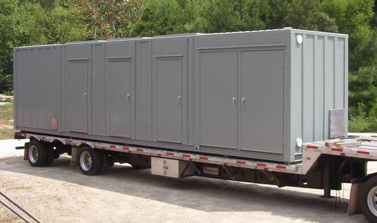 Custom equipment container with drop-in roof doors