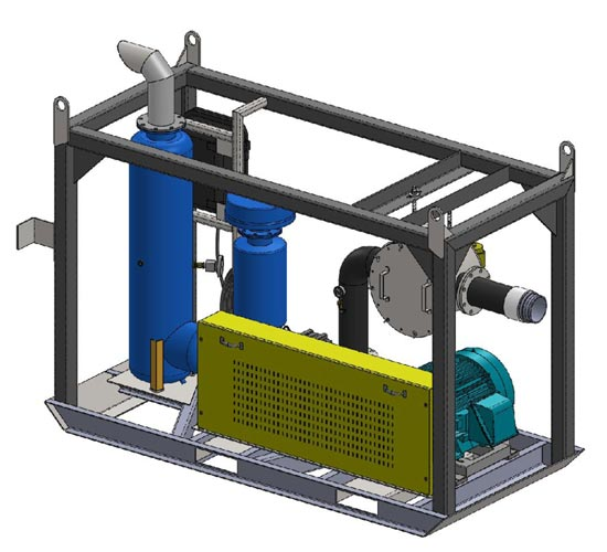 Vacuum system with drag skid mount