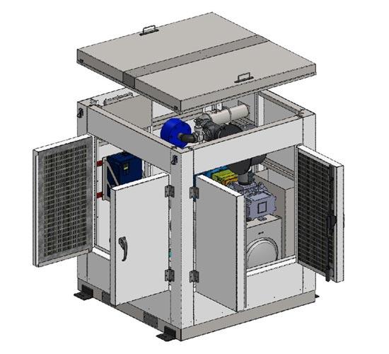 Vacuum package in heavy duty acoustical enclosure