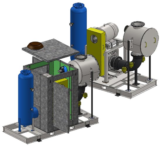 Vertical mount vacuum system with partial enclosure