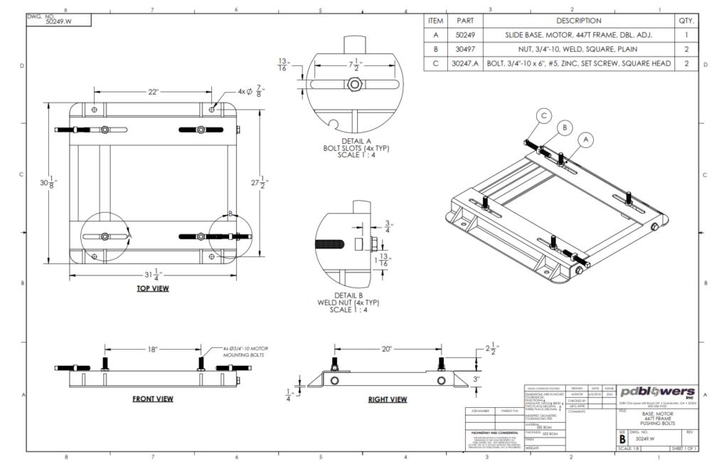 50249.W-pdblowers-modified-447-motor-base-drawing