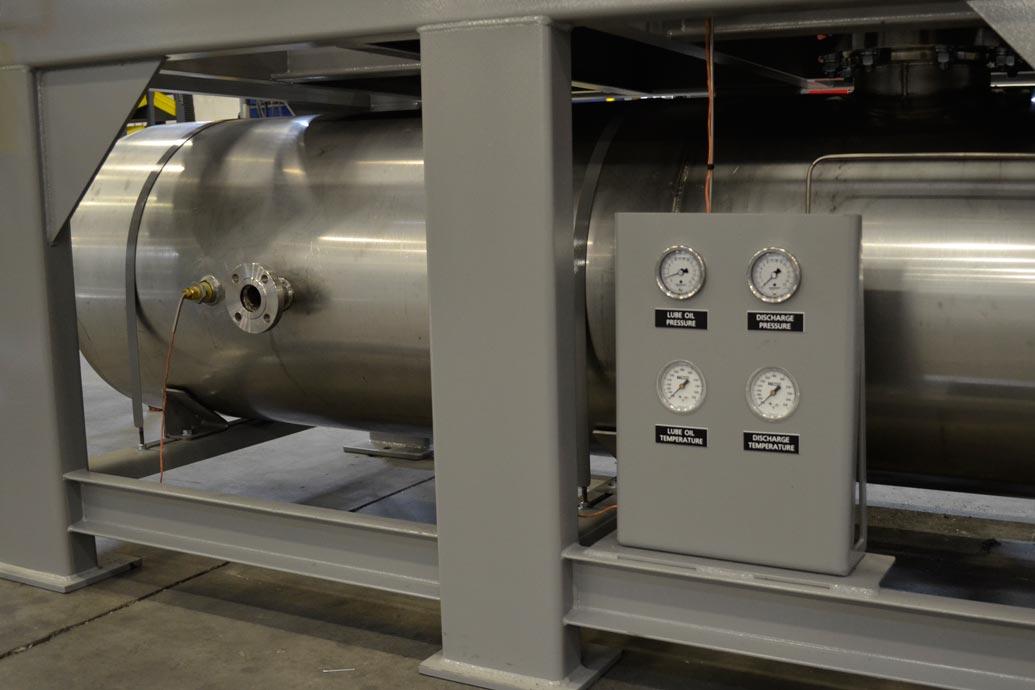 Gauges on carbon capture blower package