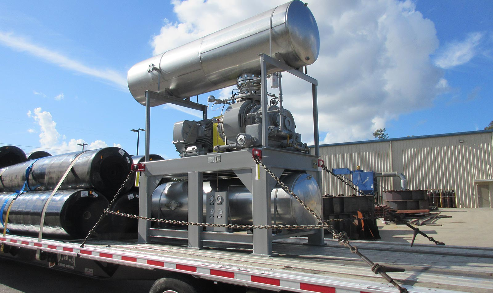 Stainless Steel Blower Package strapped down for shipping