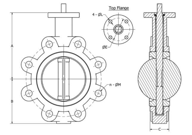 Techno BVL Butterfly Valve dimensions