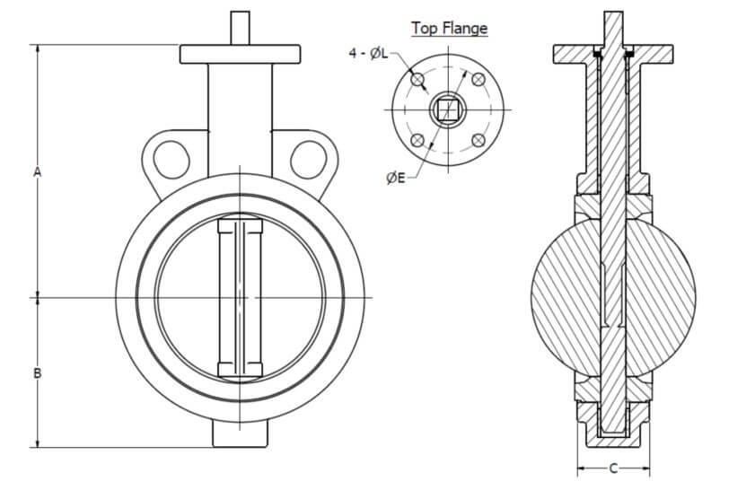Techno BVW-Butterfly Valve dimensions