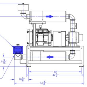 drawing of a direct drive blower package
